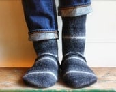 Men's  Felted Wool Slippers/Cottage Socks with Leather Sole, Men  8 or 9
