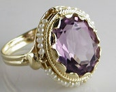 RESERVED FOR ELIZABETH 14K Yellow Gold Large Oval Amethyst Ring with Seed Pearls Surrounding Bezel