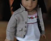Atmosphere Jacket with Embroidered Peasant Blouse and Black Linen High Waist Jeans for AG Doll (RESERVED)