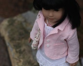 Peachy Pink Blazer and White Handkerchief Linen Chemise, Summer Bag and Faux Pearl Necklace for i8 inch doll (RESERVED)