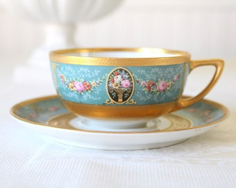 Rare Vintage Handpainted Black Knight Hutschenreuther Fine Porcelain China Heavy Gold Gilt Teacup & Saucer Bavaria, Germany - c. 1939 - 1945