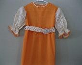 Vintage 1960's girl's dress, flower child, daisy girl, 1960's dress, baby girl, sunshine yellow, orange, size 5