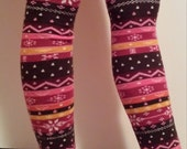Leg warmers / Arm Warmers - Brown, Orange, Pink, and Maroon Stripes with White and Pink Designs