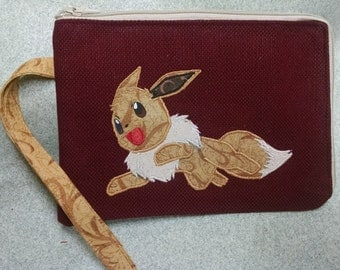 Evee Applique Pokemon Wristlet or Cell Phone Case