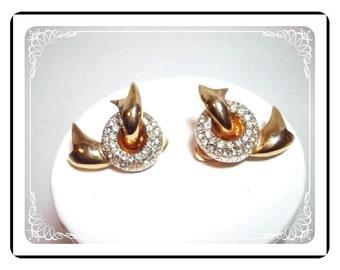 Puccini Clip-On Earrings -Vintage  Rhinestone & Ribbon    E330a4081200