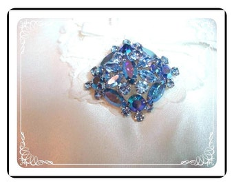 Square Flower Brooch - Domed Aurora Borealis Rhinestones Pin-1110a-022312000