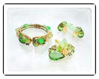 Shades of Green Parure - Vintage Bracelet, Brooch & Earrings Set  -   Para-1724a-121012000