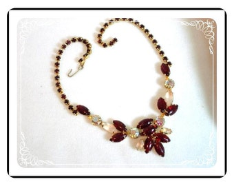 Iridescent Ruby 1960's Prom Bling - Ruby Red and Frosty White Rhinestone Necklace - Neck-1138a-012312000
