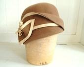 OOAK Tan 1920's Cloche Cap for Women- Great Gatsby Cloche- Flapper Style Cloche
