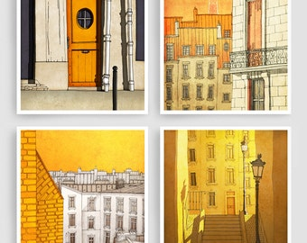 Any FOUR Prints - Save 30%,Set of four Illustrations,Paris Art Prints Posters Home decor Wall art Mixed media Architectural illustration