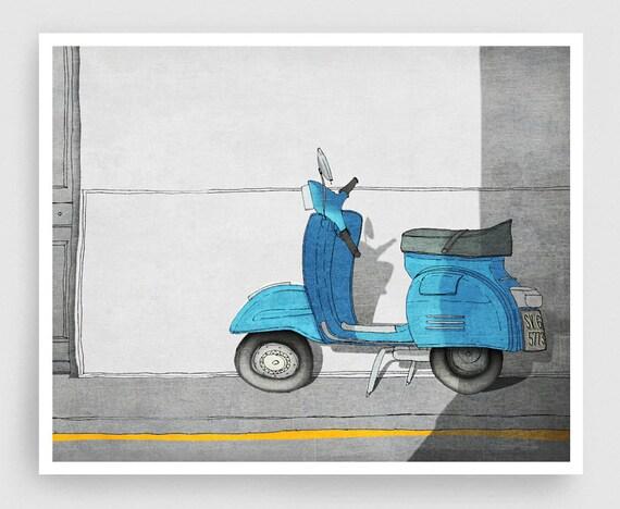 Vespa - Paris illustration Art illustration Art Posters Paris art City prints Home decor Wall decor Travel posters Turquoise Blue wall decor