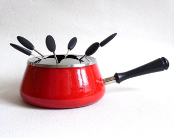 Vintage Fondue Pot with matching forks, red enameled cast iron