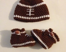 Crochet Baby Football Hat and Booties with Football Buttons Any Team Colors Crochet Set Newborn Photo Prop Coming Home Outfit Made To Order