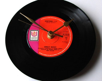 "SHIRLEY BASSEY Clock ""Something"" made from recycled 7"" record Retro Gift mum dad boyfriend husband wife anniversary black orange pink"