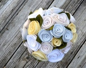 White Felt Rose Bridal Bouquet ** Ready to Ship**