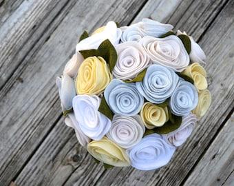 White Felt Rose Bridal Bouquet ** Ready to Ship**