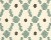 Home Decor Drapery Bedding Upholstery Fabric Braemore Konya Ikat Pond blue aqua charcoal