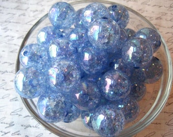 Blue Crackle Beads, 10 pcs, 20mm Bubblegum Beads, Sparkly Translucent Beads, Gumball Bead, Acrylic Bead, Chunky Necklace Bead
