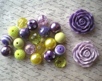 Chunky Necklace Kit, Purple and Yellow Gumball Bead Kit, Pastel Bubblegum Necklace Kit, DIY Necklaces, Fun Kids Project