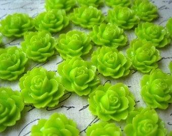Resin Cabochon / 6 pcs Lime Green Ruffle Rose Resin Flowers / Rose Cabochons 18mm x 16mm