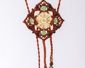 Brown Mandala Necklace With Jade and Granet CRYSTAL-Cleopatra Flower- Goddess Tiara- Brown Boho Headpiece- Elven Headpiece