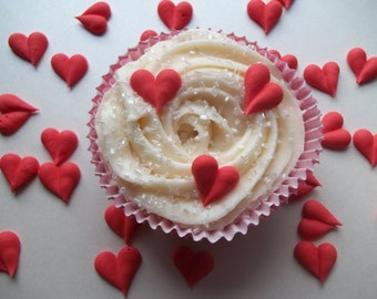 Royal icing hearts -- Ready to ship -- Cake decorations cupcake toppers (24 pieces)