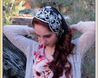 Church Head Scarf~ SCT13 - Headcovering Headband with ties in Black Embroidered Chiffon