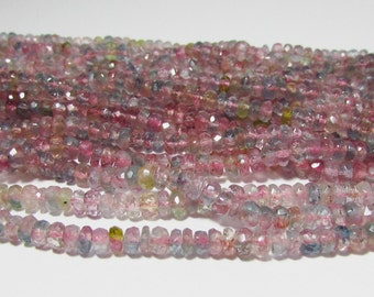 Natural Pink Bio Watermelon Tourmaline Hand Faceted Rondelle Graduating Beads Strand 2.5mm - 4.5 mm