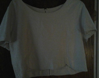 Mod Shimmery Ivory Women's Extra Large Cropped short sleeve shirt with metallic threading