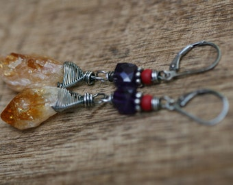 Rustic * Raw Citrine and Amerthyst * Dangle earrings n176- Bohemian Boho Gipsy . Fine Jewelry .Yellow Citrine Stone . Clever . Wire Wrapped