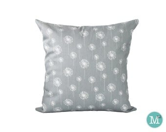 Grey Dandelion Pillow Cover - 20 x 20 and More Sizes - Zipper Closure