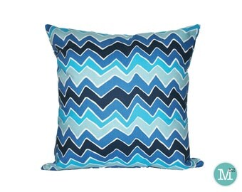 Blue Chevron Pillow Cover SeeSaw - 20 x 20 and More Sizes - Zipper Closure