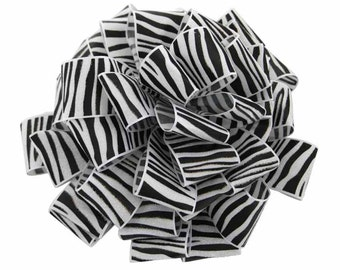 "1 1/2"" Black and White Zebra Print - Crystal Ribbon- 3 Yards"