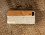 IPHONE 5/5S portfolio case OSTRICH leather and american cherry wood case
