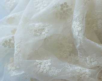 ivory Lace Fabric, cotton Embroidered Lace with daisy flowers by the yard