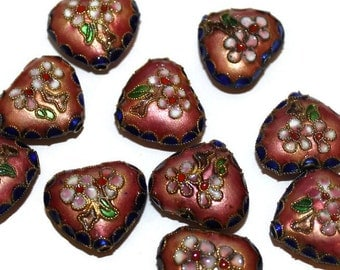 2 - Heart Beads -  Pink and Blue Cloisonne Accent Focal Bead (101)