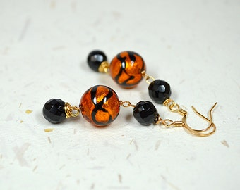 Sophisticated Venetian glass earring Warm topaz hued Murano bead earrings with faceted black onyx bead dangle Italian glass jewelry