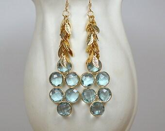 Blue gemstone cluster earrings Long chandelier earring Hydro blue topaz dangle earrings Long drop earring Gold leaf chain earrings