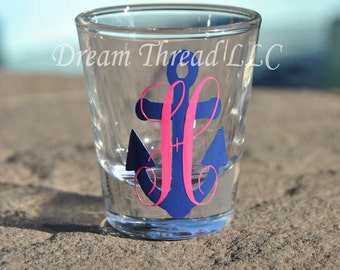 Anchor SINGLE Letter Monogram Shot Glass  (made to order)