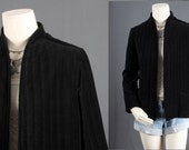 Black Velvet Jacket quilted jacket Bohemain Gypsy HIppie women size M medium