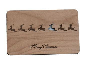 Reindeer Christmas Wood Laser-Cut Card