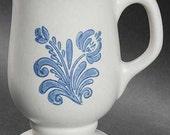 "Pfaltzgraff YORKTOWNE (USA) Footed Mug 4.875"" Blue Flowers Trim Pottery"