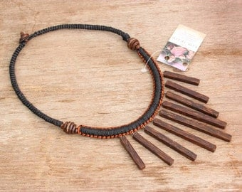 Necklace Waxed String Wood Pendant Handcrafted JewelryThailand (N5327-1C5)