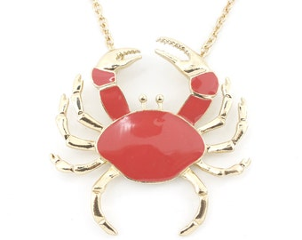 Fun Big Bright Gold tone Salmon Enamel Crab Pendant Necklace,A12
