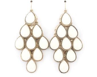 Elegant Gold-tone White Beads Chandelier Dangle Drop Earrings,B13