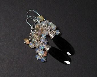 Black Spinel, Ethiopian Fire Opal Cluster Sterling Silver Earrings