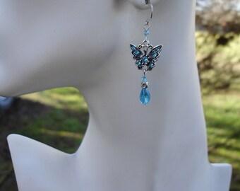Blue earrings, butterfly earrings, aqua earrings, light blue earrings, gift for her,butterflies,Spring jewelry, birthday gift, gift for girl