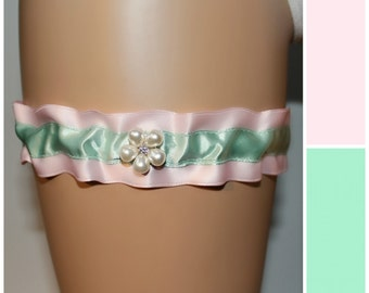 CLEARANCE - Soft Pink and Green Garter, Vintage and New Ribbon Garter, Something Old, Something New, Rhinestone Bridal Garter