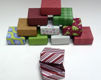 Set  of 40 Small Holiday Gift Boxes, Christmas Box, Jewelry Box, Origami  Box, Favor Box, Hand Made Box, Colorful Box