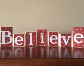 Believe wood blocks | Etsy